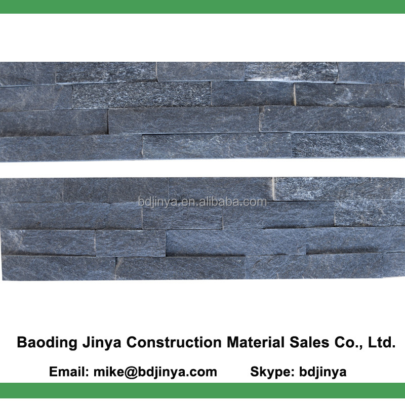 black quartzite stacked wall stone panel