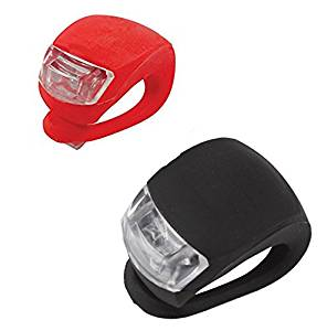 2 LED Lights Front/Back Waterproof Bike Lights Clip On LED Safety Lights (Red/Black)