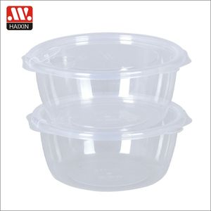 Lid With Pump Plastic 0.85L vacuum clear food containers clamshell type round lunch box 2pcs set
