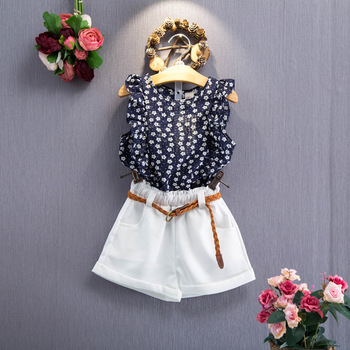 New Design Summer Baby Girl Clothes Boutique Floral Sleeveless T Shirt Shorts Suit Belt Girl Clothes China Set 2018 Summer Buy Suits Summer For Kids Korean Summer Panties Baby Girls Summer Clothes Product On
