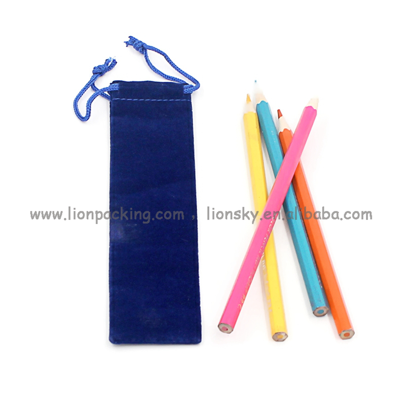 china supplier blue velvet drawstring pen pouch pen bag
