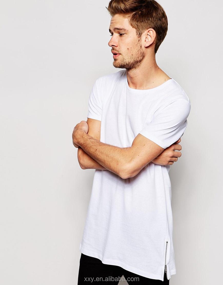 ace4dd9d3aefa Moda Para Hombre Camisetas extra largas side zip camiseta en blanco  camisetas blancas No Logo