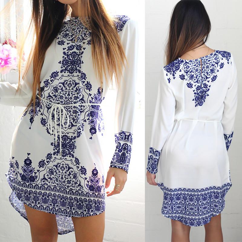 2019 Wholesale New Summer Style White Blue Porcelain Long Sleeve Loose  Casual Mini Keyhole Back Hem Tile Prints Plus Size Beach Vestido Dress From  Freea 11046e6f8107