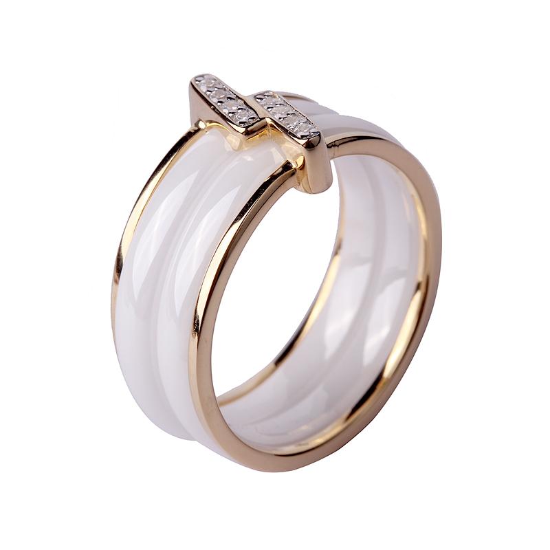 High End New Design Gold Finger Ring Sterling Silver Ceramic Rings