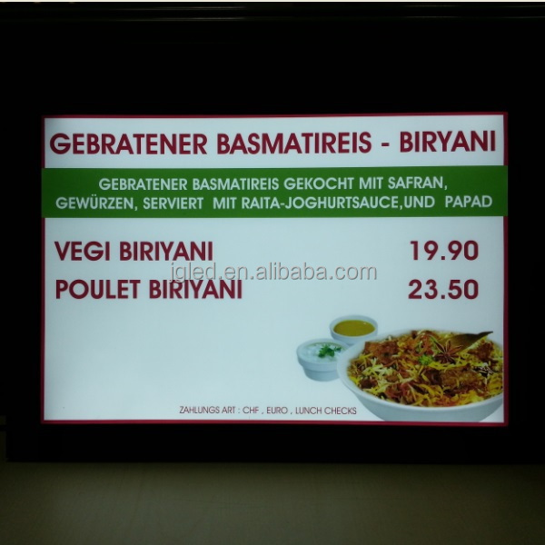 customize single side double side Ra80 ultra slim led light box menu board for restaurant