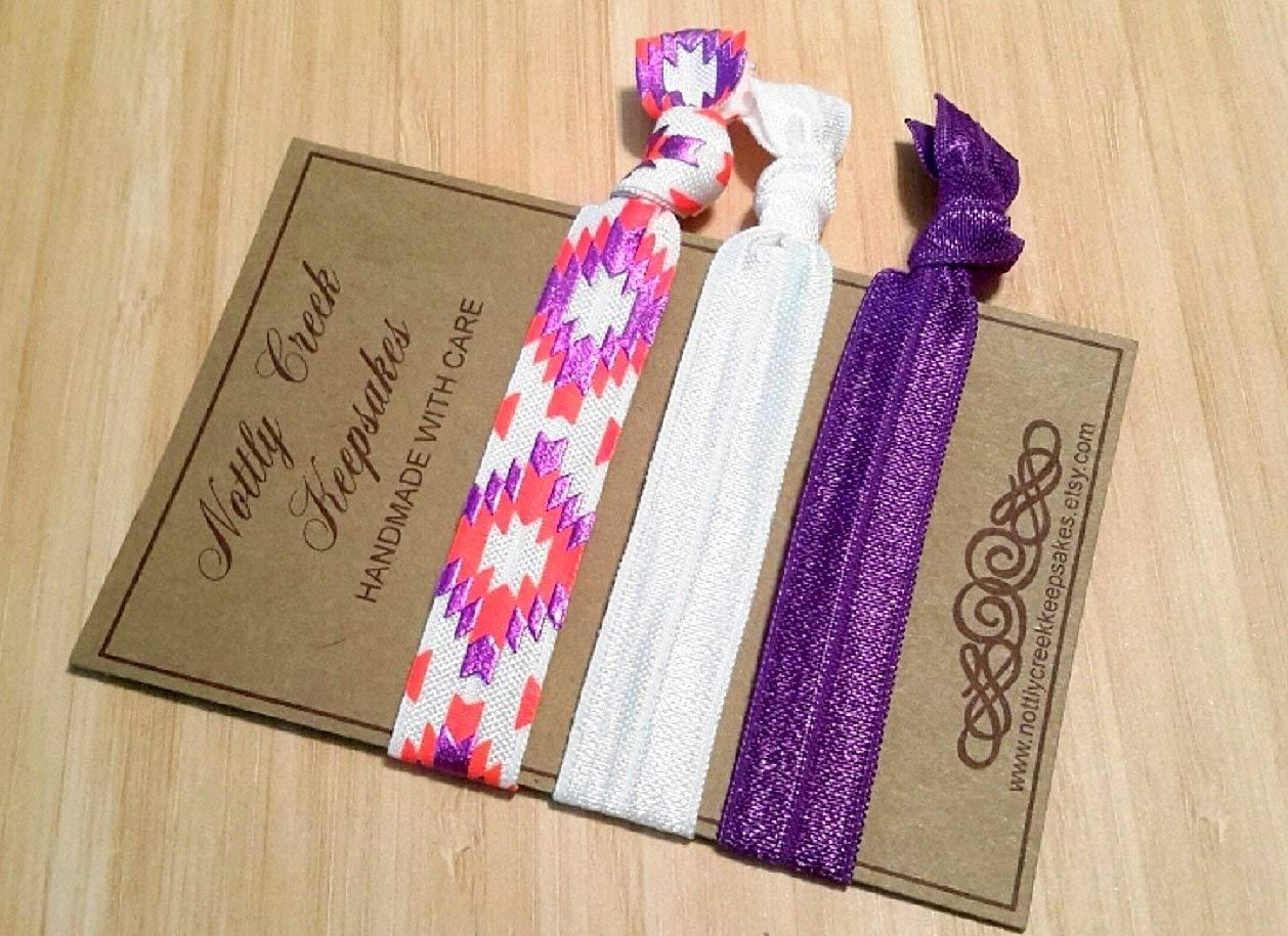 f9ee35eb05af Get Quotations · Neon Aztec Elastic Hair Ties/Solid White Purple Hair Ties/No-Crease  Hair