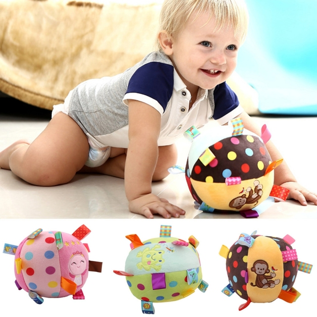 Colorful Baby Childrens Ring Bell Ball Cloth Music Sense Learning Toy Educational Cotton Hand