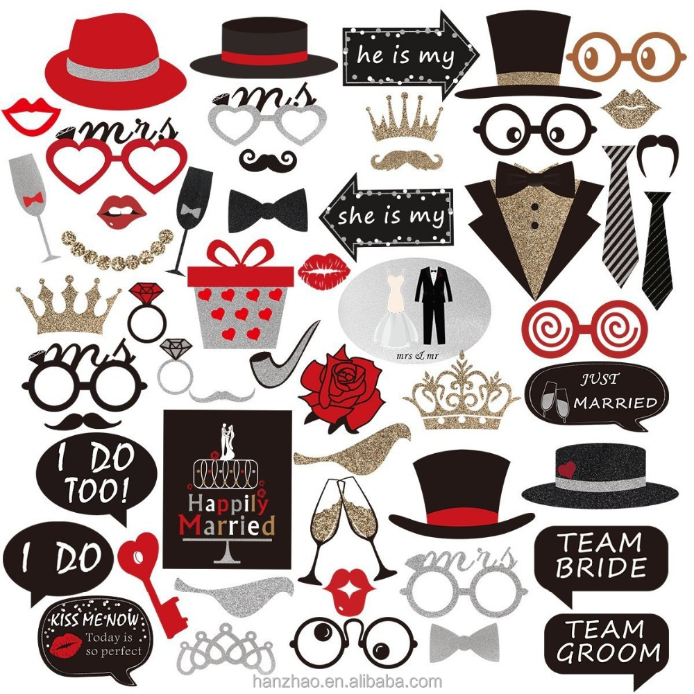 Wedding Party Photo Booth Props Kit Mr and Mrs Bride and Groom on Sticks