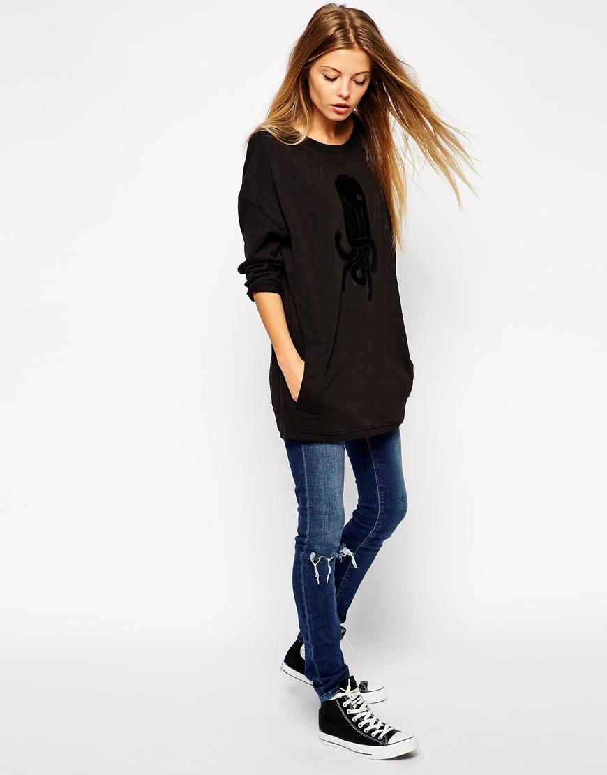 2016 custom design oversized women sweatshirt loose fit women long  sweatshirt black sweatshirt for women b3932eacf6e