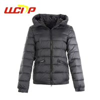 Newest design winter heavy warm packable outdoor fashion fur women down jacket for ski