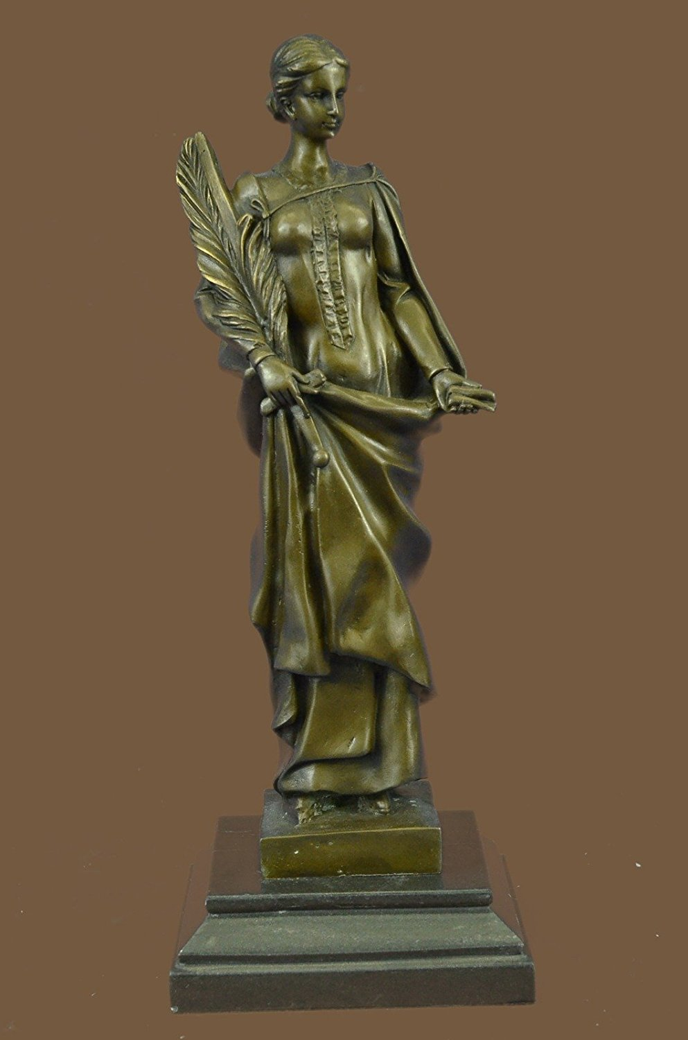 ...Handmade...European Bronze Sculpture Signed Kassin Declaration Of Peace Young Woman With Sword And Lantern Art (1X-STE-240) Bronze Sculpture Statues Figurine Nude Office & Home Décor Collectibles