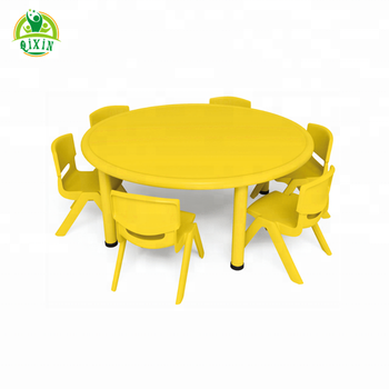 Six Seats Round Tables Table And Chairs Children Qx