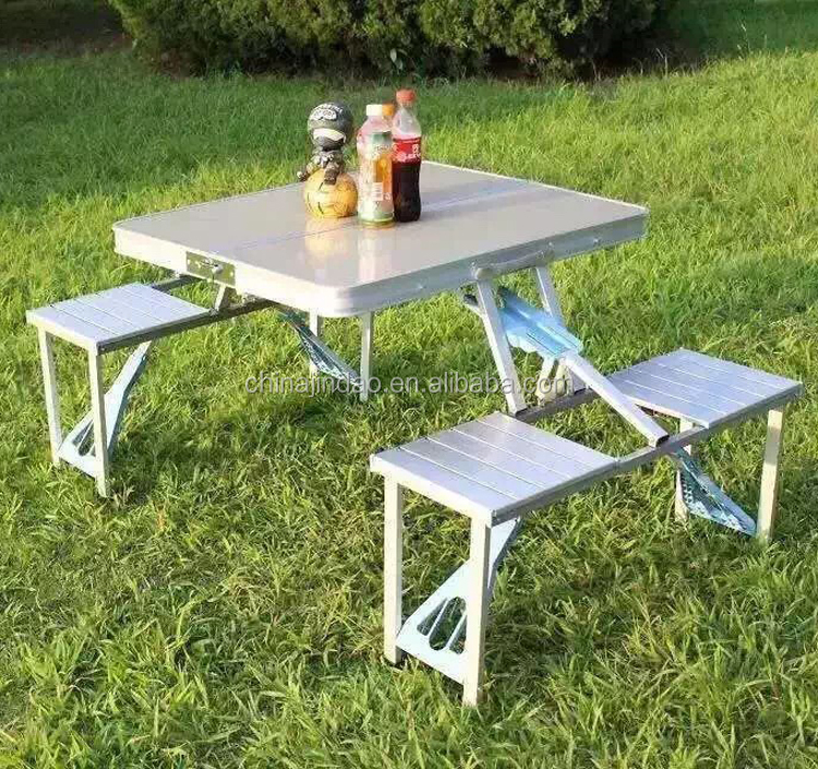 Aluminum Suitcase Folding Picnic Table Chairs Set With 4 Seats