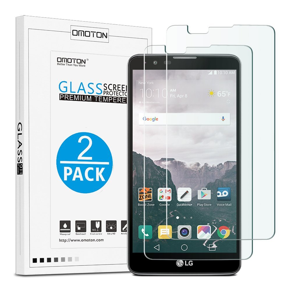 LG Stylo 2 Tempered Glass Screen Protector [2 Pack], OMOTON Screen Protector for LG Stylo 2 / LG Stylo 2 V / LG Stylo 2 Plus with [9H Hardness] [Crystal Clear] [Bubble Free Installation]