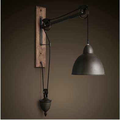 grange poulie applique murale vintage industrielle fonte mur poulie pendant light lampe murale. Black Bedroom Furniture Sets. Home Design Ideas