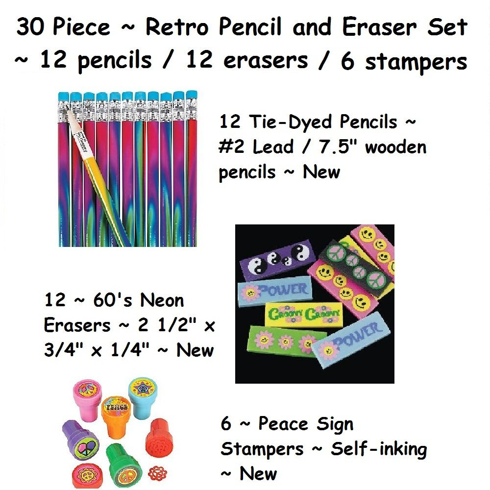 30 Piece ~ Retro Pencil and Eraser Set ~ 12 Pencils / 12 Erasers / 6 Stampers ~ New