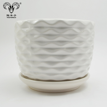 Wholesale embossed design glazed stoneware garden ceramic flower pot