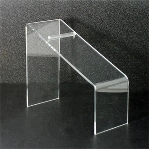 tall transparent plexiglass footwear stand countertop slant clear acrylic shoe display rack