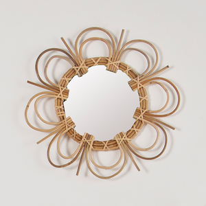 Handcraft unique decorative wall rattan wood mirror for home