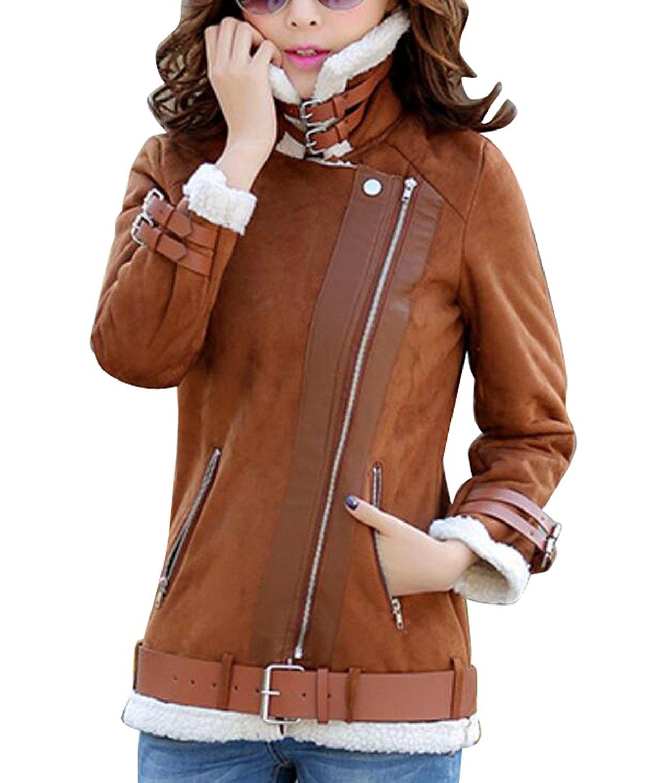 YUNY Women's Full-Zip Faux Suede Sherpa Lined Short Jacket Coat