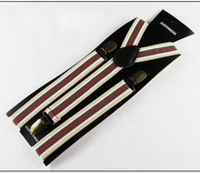 싼 Price Elastic Adjustable Red White Green Stripe Suspender 와 금속 Clips