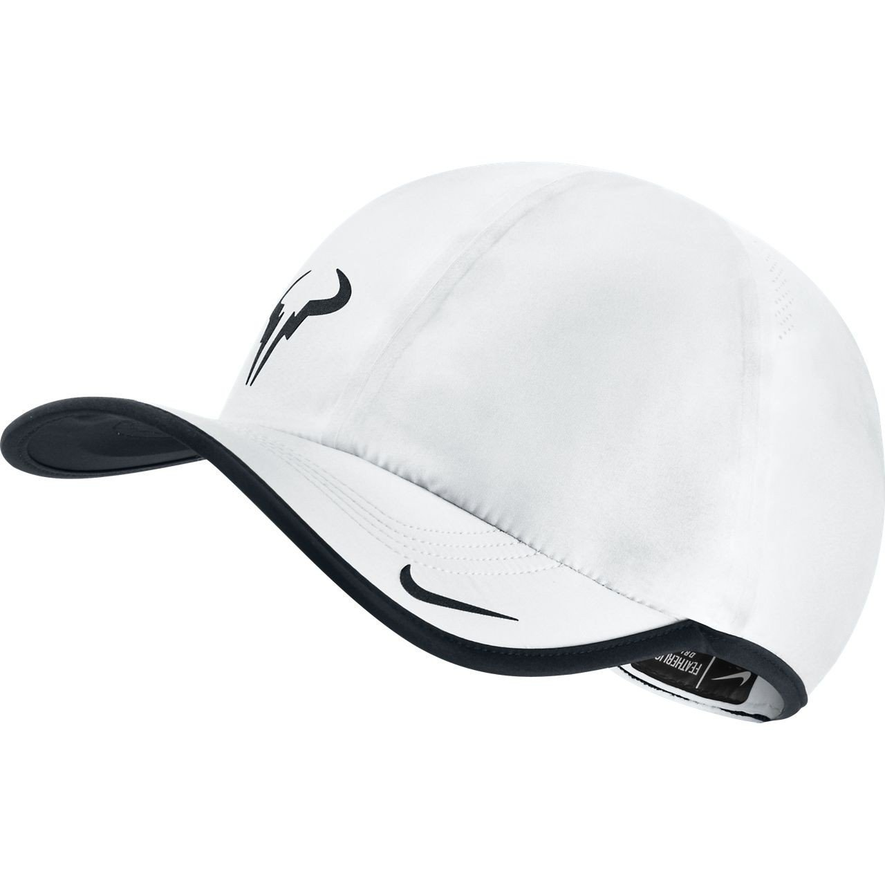 Get Quotations · Mens Nike Rafa Bull Featherlite Adjustable Tennis Hat  White Black 613966-100 8c3fc5521076