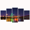 Glittering Cityscape Canvas Print/City Night View Canvas Art Painting/Canvas Artwork for Home and Office Decoration/5 panels