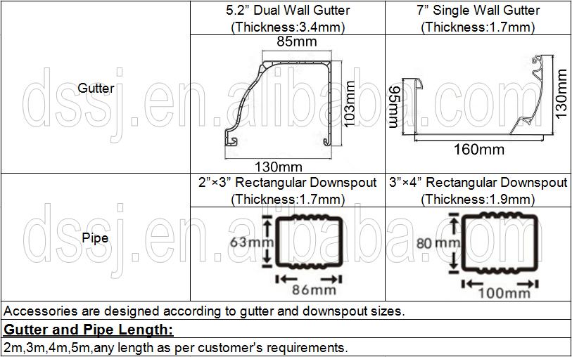 H Style Gutters Pvc Rainwater Drainage System Pvc Rain