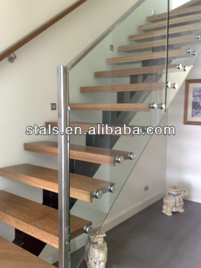 Stainless Steel Tempered Glass Wooden Staircase With Wall