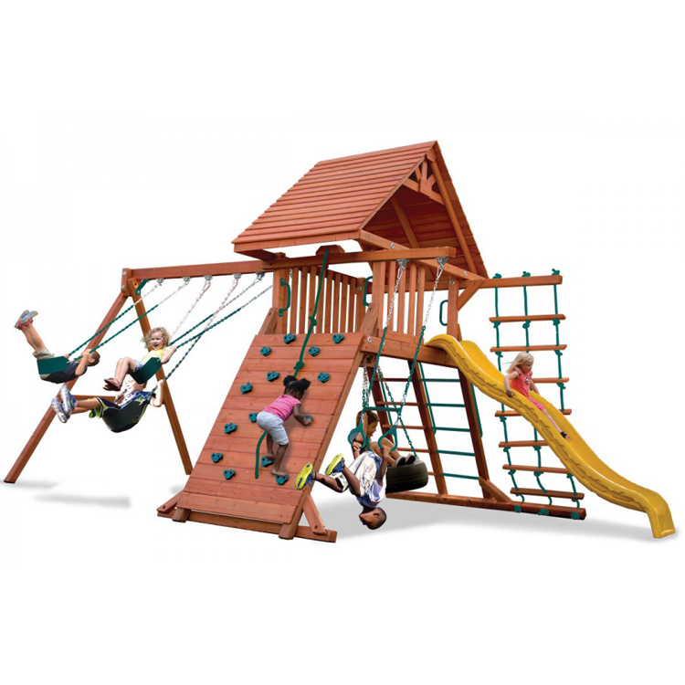 Outdoor Playground Wooden Climbing Frame Swing Set with Plastic Slide