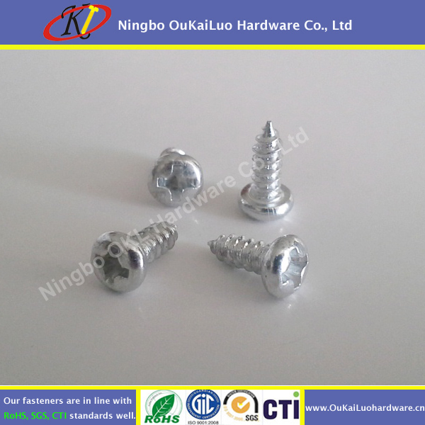 Phillips Round Head Self Tapping Screw White Zinc Plated