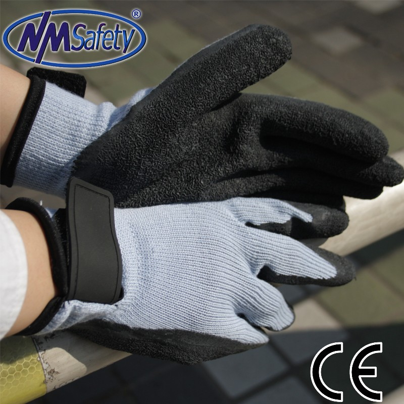 NMSAFETY cheap 10 gauge knit glove magic buckle watch your hands gloves