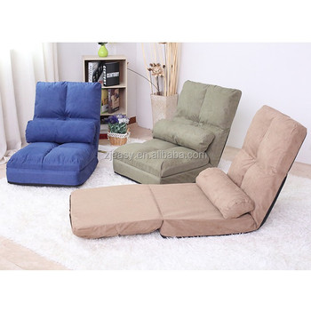 Legless Floor Folding Sofa Portable Foam Chair Adjusted Fabric