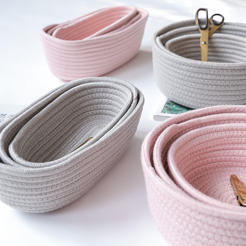 High quality Circle Shape Brown Cotton Rope Woven Storage Basket