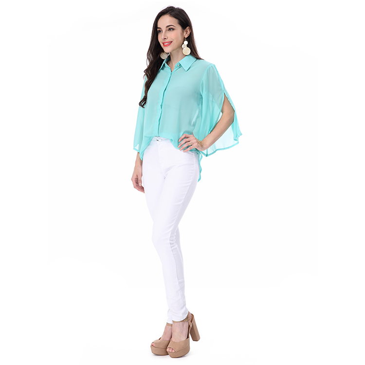 d05e362c7 السيدات قمم عارضة طويلة الأكمام الخريف ملابس للسيدات الأزياء الشيفون قميص  مثير مكتب سيدة بلوزة