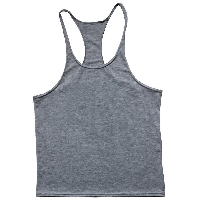 9892a8de33d01d Get Quotations · YAKER Men s Fitness Gym Tank Top Singlet Bodybuilding  Stringers Sleeveless Muscle Shirt