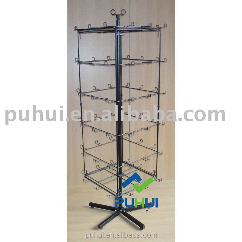 four sides metal floor spinning balloons display rack with hook hangers