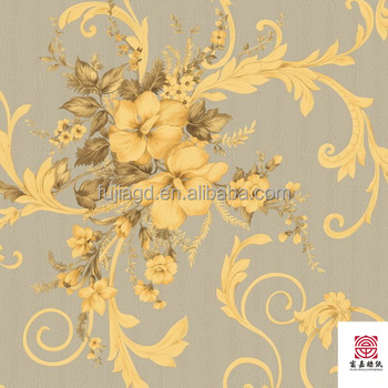 Golden Luxury Pvc Wall Paper Paintable Textured Wallpaper Borders