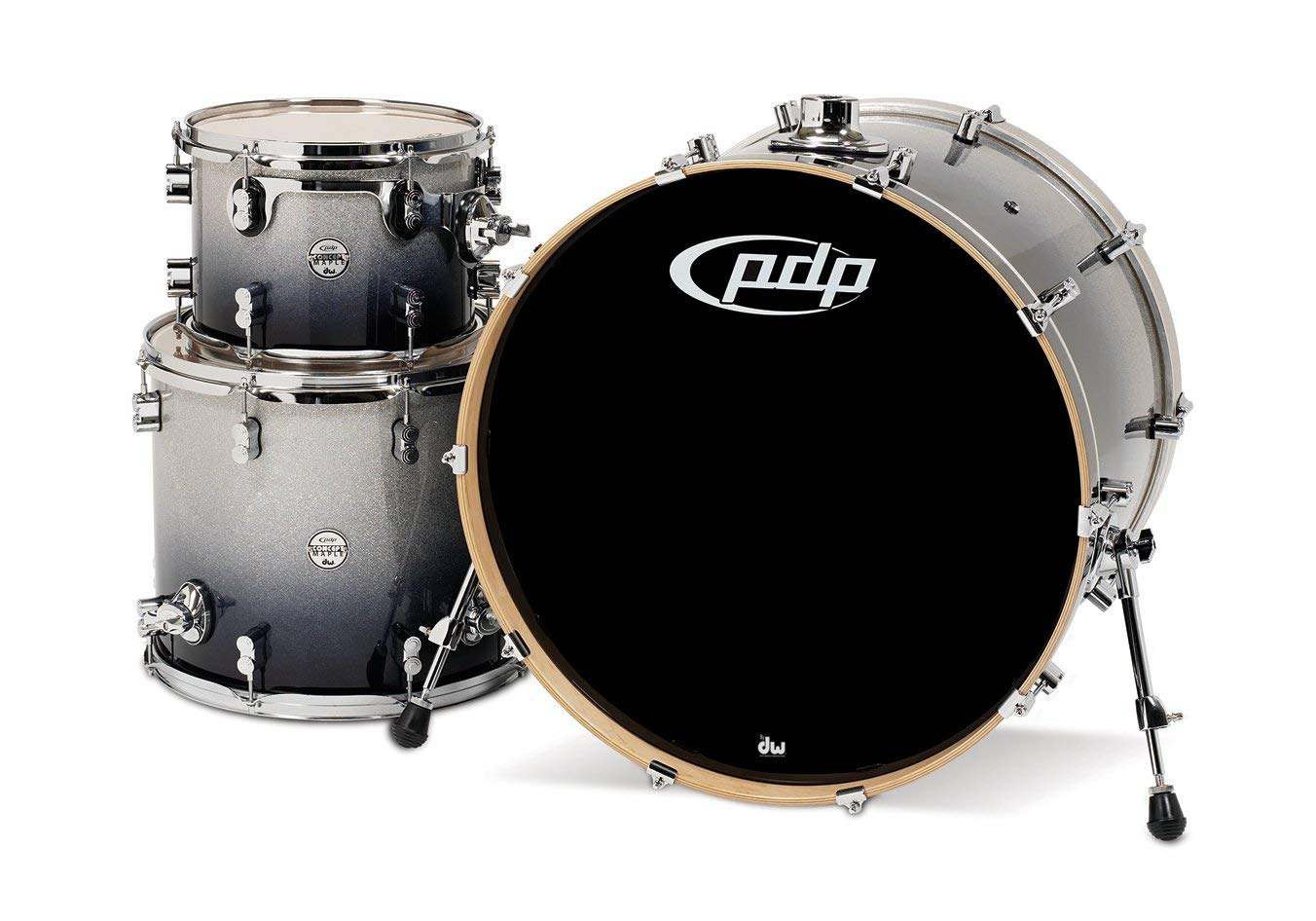 Pacific Drums PDCM2413SB 3-Piece Drumset with Chrome Hardware - Silver to Black Fade
