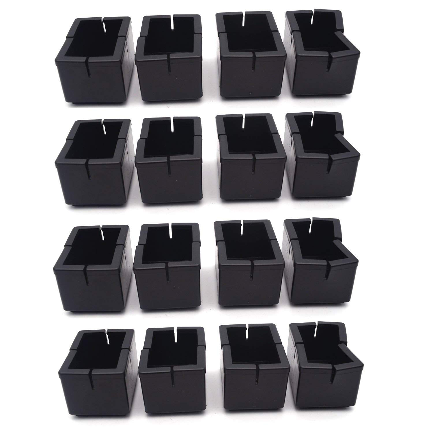 """Antrader 16pcs Silicon Rectangle Furniture Pads Floor Protector Sofa Non-Slip Chair Feet Pad Table Leg Cap with Felt Pads Length 1-7/16"""" to 1-5/8"""" (3.7cm-4.2cm), Width 5/8"""" to 7/8"""" (1.6-2.2cm) Black"""