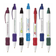 Newest sale special design white barrel soft grip click type advertising durable plastic scrolling message flag ball point pen