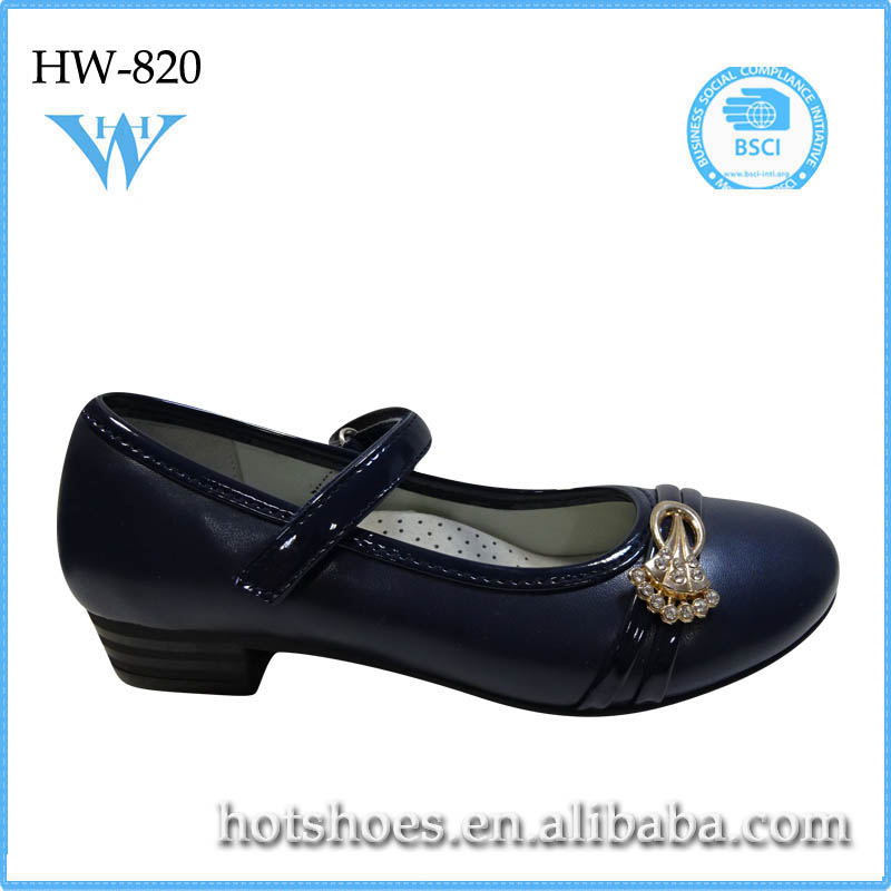 High quality kids shoes with little high heel formal classic hot popular soft kids shoes with little high heel
