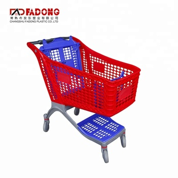 175L Plastic Supermarket Retail Grocery Hand Push Cart Shopping Cart Trolley