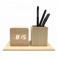 Office stationery multifunctional creative wooden pen holder with digital clock