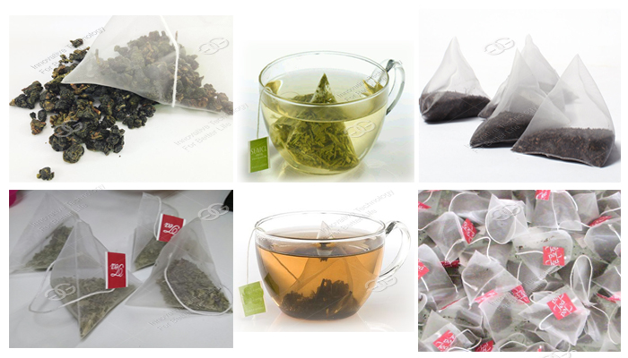 Automatic Small Sachet Packaging Machine Nylon Triangle Pyramids Tea Bag Packing Machine Finished Product Picutres