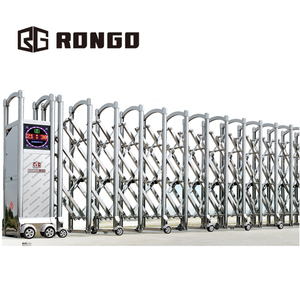 Rongo automatic driveway folding expandable aluminum telescopic retractable collapsible gate design