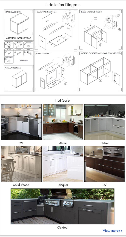 European Style 3D Design With Aluminum Frame Glass Design Kitchen Cabinet