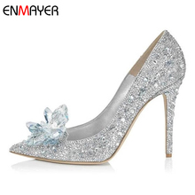 China factory low moq pretty girl fancy high heel dress crystal wedding shoes
