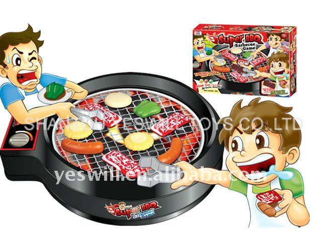 plastic super BBQ game, electric barbecue grill/oven toy