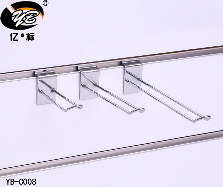 Customized Chrome Plated Steel Prong Double Slatwall Display U euro Hooks